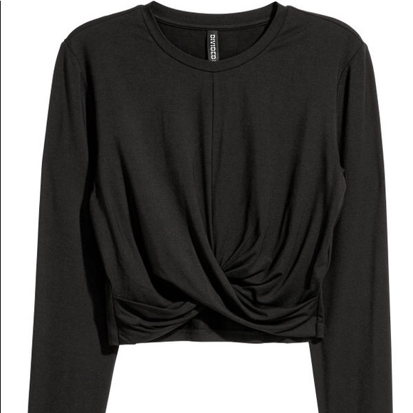 512e53b471 Twist Front Black Long Sleeve Crop Top - Sz S